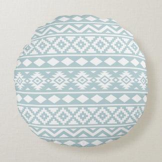 Almofada Redonda Azul asteca & branco do ovo do pato da essência