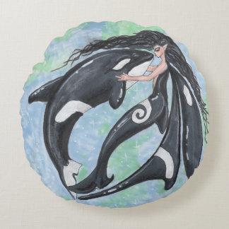Almofada Redonda Baleia de assassino Yin do duende do país das