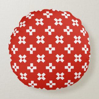 Almofada Redonda Bandeira da suiça com teste padrão do coração