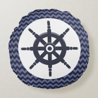 Almofada Redonda Berçário de Chevron do marinho do marinheiro da