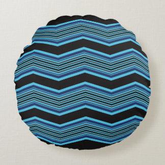 Almofada Redonda Black and Blue Geometric Pattern Pillow