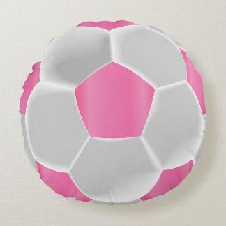 Almofada Redonda Bola de futebol cor-de-rosa bonito