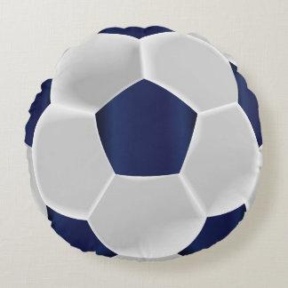 Almofada Redonda Bola de futebol dos azuis marinhos e do branco