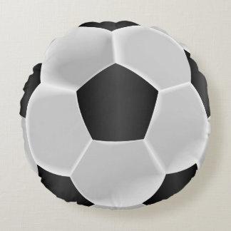 Almofada Redonda Bola de futebol preto e branco