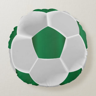 Almofada Redonda Bola de futebol verde e branca