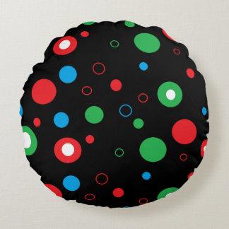 Almofada Redonda Bolinhas azuis verdes vermelhas pretas e