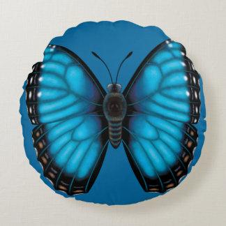 Almofada Redonda Borboleta azul de Morpho dorsal e Ventral