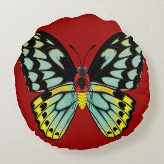 Almofada Redonda Borboleta de Birdwing dos montes de pedras, dorsal