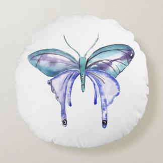 Almofada Redonda borboleta roxa azul do aqua da aguarela