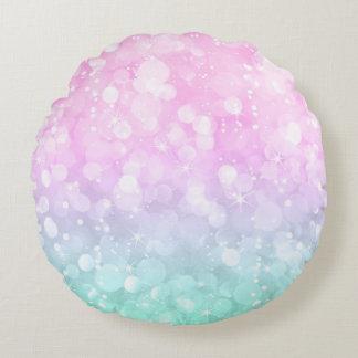 Almofada Redonda Brandamente rosa e brilho glam hortelã-verde do