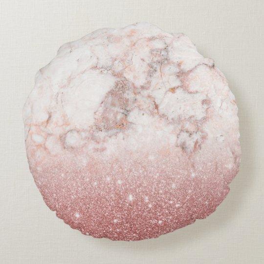 Almofada Redonda Brilho cor-de-rosa Ombre de mármore branco do ouro