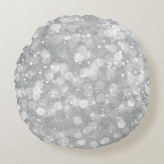 Almofada Redonda Brilho de Bokeh das cinzas de prata