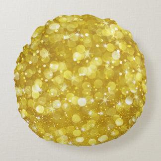 Almofada Redonda Brilho Glam de Bokeh do ouro