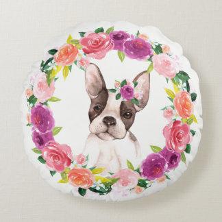 Almofada Redonda Buldogue francês com o travesseiro floral da