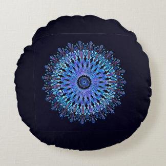 Almofada Redonda Caleidoscópio azul luminoso do mosaico