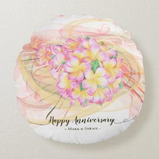 Almofada Redonda Caligrafia exótica da arte abstracta da flor do