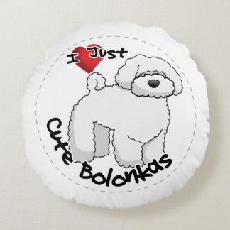 Almofada Redonda Cão engraçado & bonito adorável feliz de Bolonka