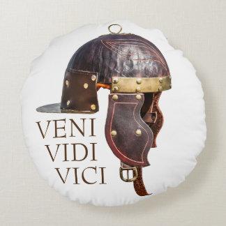Almofada Redonda Capacete militar romano antigo - Veni, Vidi, Vici