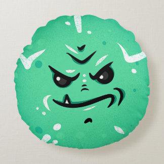 Almofada Redonda Cara verde engraçada do monstro com sorriso de