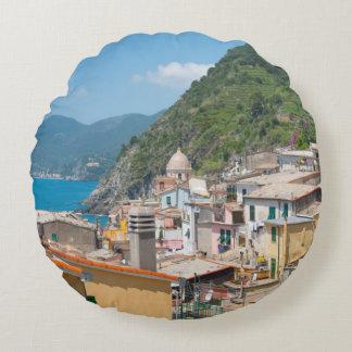 Almofada Redonda Casas coloridas em Cinque Terre Italia