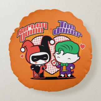 Almofada Redonda Chibi Harley Quinn & corações do palhaço de Chibi