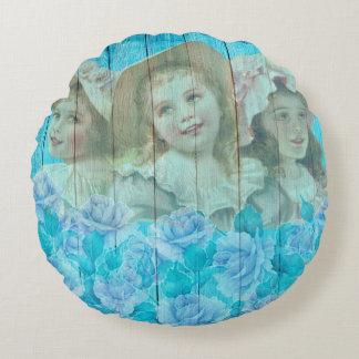 Almofada Redonda Chique 3 meninas pequenas do Victorian florais