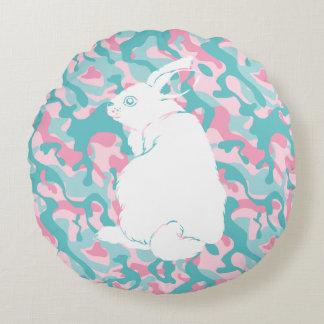 Almofada Redonda Coelhinho da Páscoa da camuflagem do primavera
