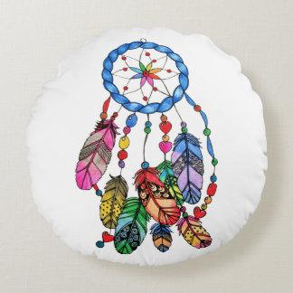 Almofada Redonda Coletor do sonho do arco-íris da aguarela &