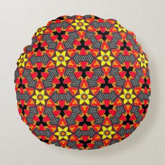 Almofada redonda coloré vermelho de preto e