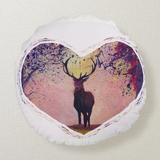 Almofada Redonda Coração dos cervos da série do estilo country de