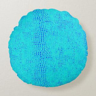 Almofada Redonda Couro azul de néon do Vegan da escala da sereia