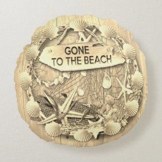 Almofada Redonda Coxim da praia do vintage - ido à praia