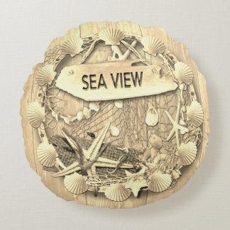 Almofada Redonda Coxim da praia do vintage - opinião do mar