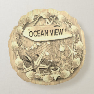 Almofada Redonda Coxim da praia do vintage - vista para o mar