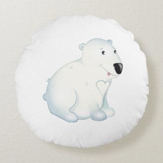 """Almofada Redonda """"Coxim do urso polar do selo pequeno do amor do"""