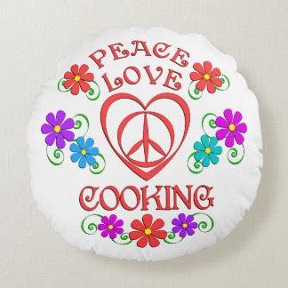 Almofada Redonda Cozinhar do amor da paz