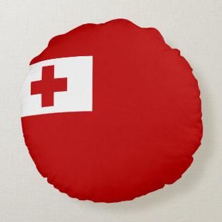 Almofada Redonda Cruz vermelha da bandeira da ilha de Tonga