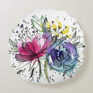 Almofada Redonda Design cor-de-rosa & azul da aguarela