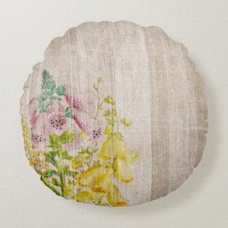 Almofada Redonda Design da arte dos Wildflowers do Watercolour do