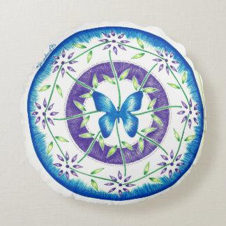 Almofada Redonda Design da mandala da borboleta