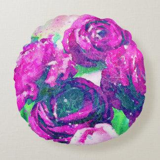 Almofada Redonda Design do Watercolour do buquê do Gerbera do