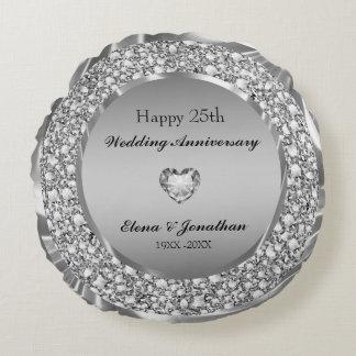 Almofada Redonda Diamantes & aniversário de casamento da prata 25o
