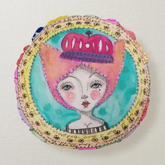 Almofada Redonda Doodle subtil colorido da rainha da menina da