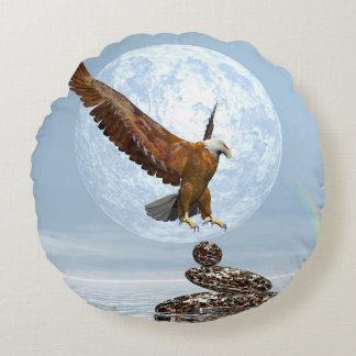 Almofada Redonda Eagle que aterra em pedras equilibradas - 3D