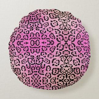 Almofada Redonda Efeito cor-de-rosa da pintura de óleo do animal do