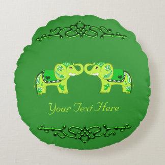 Almofada Redonda Elefante do Henna (verde/verde limão)