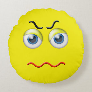 Almofada Redonda Emoji irritado louco