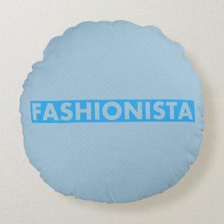Almofada Redonda Entalhe corajoso do texto do Fashionista azul