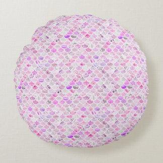 Almofada Redonda Escalas de mármore cor-de-rosa & roxas da sereia
