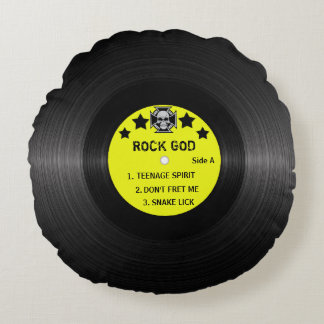 Almofada Redonda Etiqueta do registro do rock and roll! Adicione o